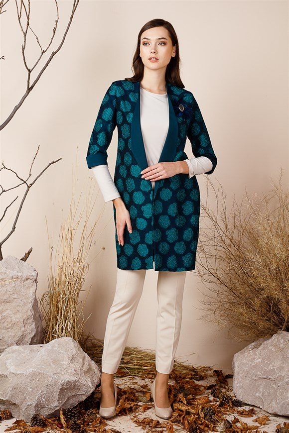 Petrol - Brooch Blouse Suit