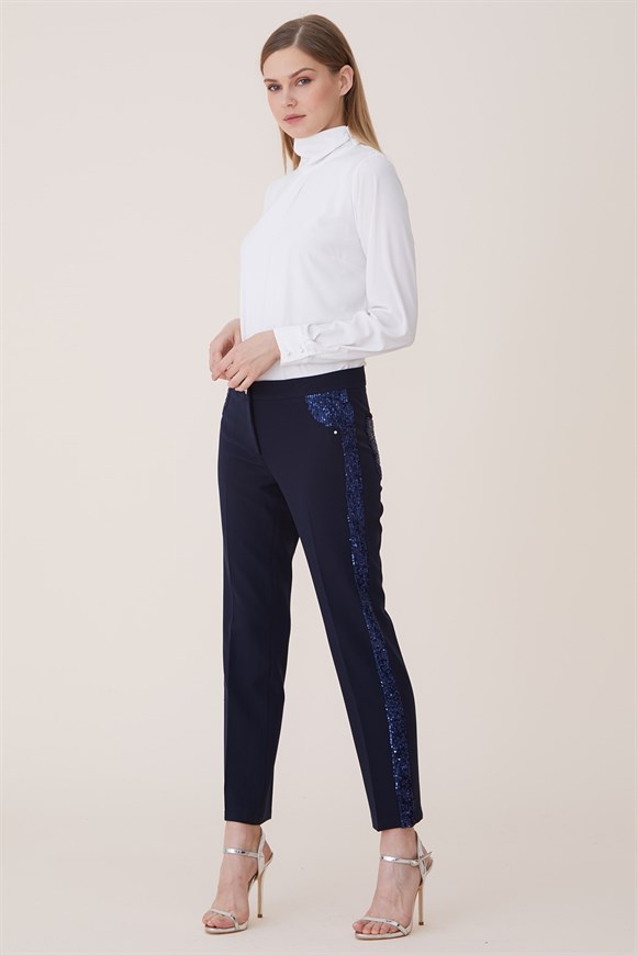 Navy Blue - Stamp-Sequined Detail Trousers