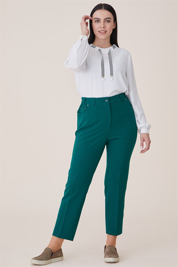 Green - Pant With Pocket